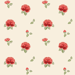 Seamless pattern with red roses. Embroidery. Vintage floral print.
