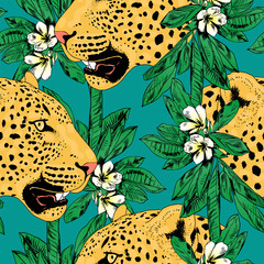 leopards in colorful tropical flowers seamless background.