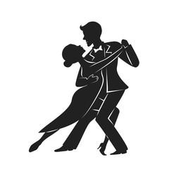 couple dancing tango silhouette