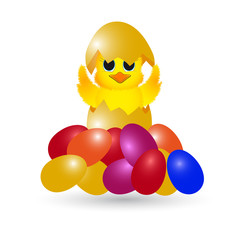 Easter chick with painted eggs on a white background