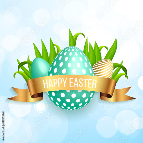 Happy Easter Mint Blue Eggs With Spring Green Grass And Gold Ribbon On Background