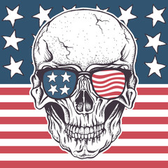 American skull in sunglasses on USA flag