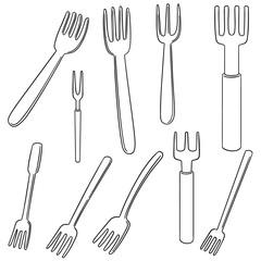 vector set of fork