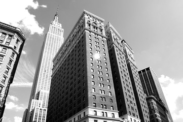 Skyscrapers in New York City black and white photo