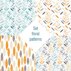 set of floral patterns retro