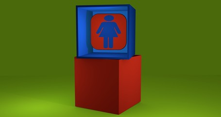 3d-Illustration, Würfel mit Symbol WC-Frau