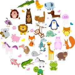 Vector illustration of cute animals and birds: alligator, Fox, giraffe, bear, cat, dog, elephant, frog, chicken, Zebra, turtle, rabbit, iguana, monkey, whale, unicorn, Koala, penguin