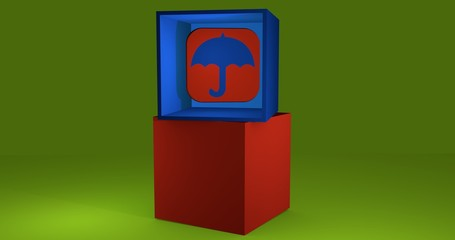 3d-Illustration, Würfel mit Symbol eines Regenschirms