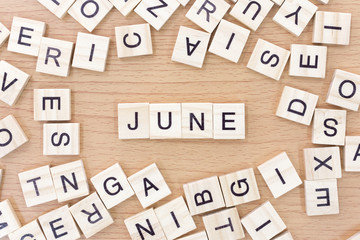 June words with wooden blocks