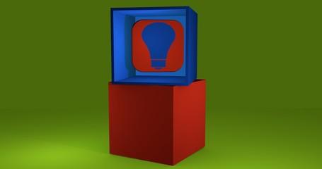 3d-Illustration, Würfel mit Symbol einer Glühbirne