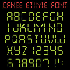 Digital latin alphabet with capital letters and numbers in style of electronic watch. E-time font. Vector illustration