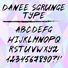 Hand drawn alphabet, written grunge font with black capital letters, numbers and punctuation. Danee SGrunge type. Vector illustration