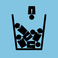 Vector minimalist metaphorical illustration on the topic of personnel reduction. Icon of a trash bin full of people. Square format. Black and blue colors.