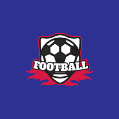 Football or soccer vintage label, logo vector