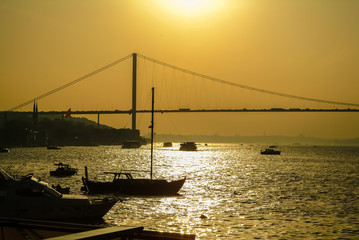 Distant view of Bosphorus Bridge in Istanbul at sunset