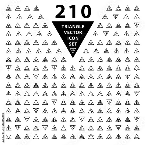 Set Of Thin Stylish 210 Icons Trendy Black Linear Triangle Shape