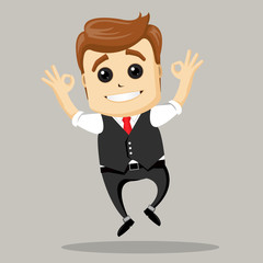 Vector illustration. Businessman shows OK. Happy businessman.