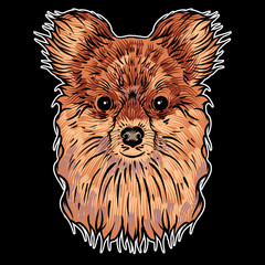 Door stickers Hand drawn Sketch of animals Portrait of a dog on black background. Hand drawn puppy illustration. T- shirt and tattoo doggy concept design in black and color. Vector.