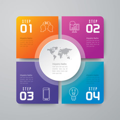 Fototapeta Infographics design vector and business icons with 4 options. obraz
