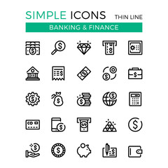 Money, business, banking, finance vector thin line icons set. 32x32 px. Modern line graphic design concepts for websites, web design, mobile app, infographics. Pixel perfect vector outline icons set