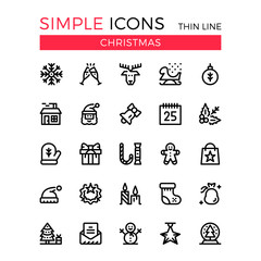 Christmas, New Year celebration vector thin line icons set. 32x32 px. Modern flat line graphic design concept for websites, web design, mobile app, infographics. Pixel perfect vector outline icons set