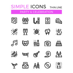 Party, Birthday party, entertainment, holiday celebration vector thin line icons set. 32x32 px. Line graphic design for web design, mobile app, infographics. Pixel perfect vector outline icons set
