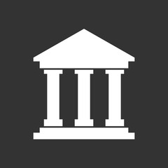 Bank building icon in flat style. Museum vector illustration on black background.