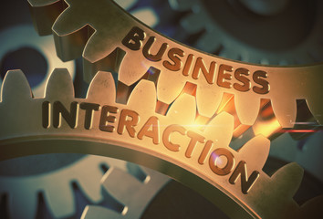Business Interaction on Golden Cogwheels. 3D Illustration.