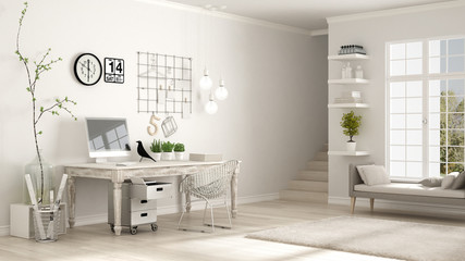 Home workplace, scandinavian white room, corner office, classic minimalist interior design