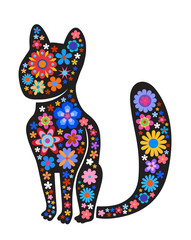 Silhouette of cat with naive style colorful flowers