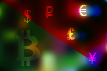 Vector illustration of a currency exchange concept with dollar, yen, pound, ruble, euro symbols on a divided green and red background