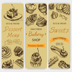 Vector illustration sketch bakery. Vintag card menu bagel, eclair, profiterole, cupcake.