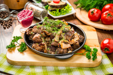 grilled meat and liver. Tasty and healthy food