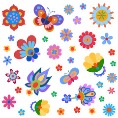 Colorful cute flowers and butterfly painted in a naive manner