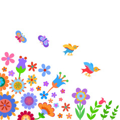 Background with naive style colorful flowers, butterfly and birds