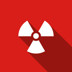 Radiation flat icon with long shadow. Vector Illustration
