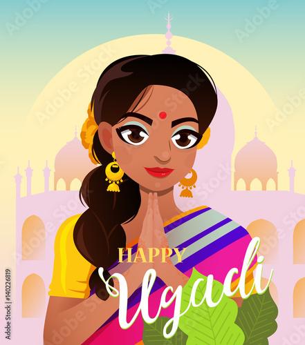 Happy ugadi gudi padwa hindu new year card character positive gudi padwa hindu new year card character positive indian girl in greeting m4hsunfo