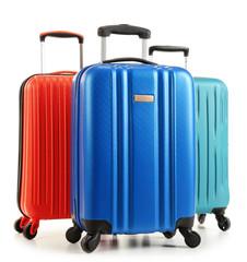 Travel suitcases isolated on white background