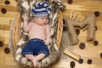 Newborn Baby Boy Wearing an Owl Hat