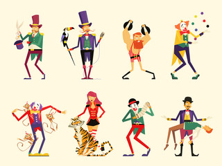 cartoon circus characters. circus performers set