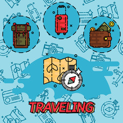 Traveling flat concept icons