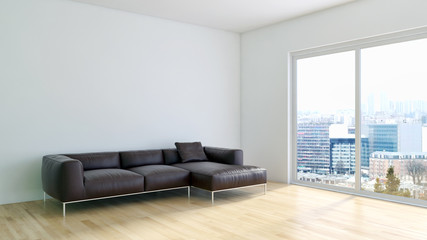 Modern living room 3d rendering