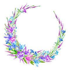 Floral wreath of a rose, bluebell, herbs, lobelia, forget-me-not flower. Garland of a meadow herbs.Watercolor hand drawn illustration.