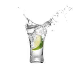 shot of vodka or tequila with lime slice