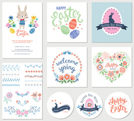Vector Happy Easter templates with eggs, flowers, floral branches and wreath, rabbit, pattern brushes and typographic design.
