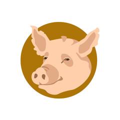 pig head vector illustration style Flat