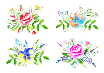 Floral composition of a flowers on a white background.Rose, pansy,carnation,bluebell,forget-me-not,vetch,timothy grass,snowdrop flowers.Watercolor hand drawn illustration.