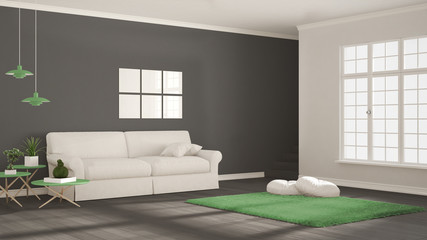 Minimalist simple clear living, white, gray and green, scandinavian classic interior design