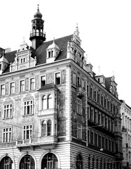 Beautiful black and white photo of classic architecture in Prague, Czech Republic.