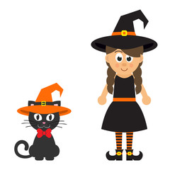 cartoon witch girl and cat